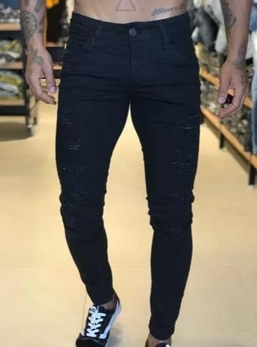 1b09d1a462 Calça Preta Sarja Moda Masculina Modelo Skinny Rasgada - R  129