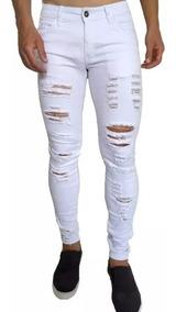 29c1ed4501c0fe Calça Rasgada Jeans Sarja Detonada Destroyed Super Skinny