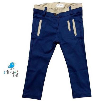 calça sarja - azul marinho | detalhes em bege atithude kids