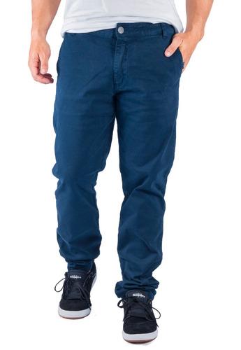calça sarja chino alfa skate masculina azul