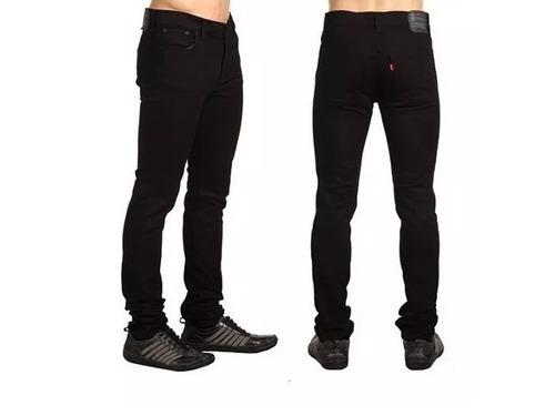 calça sarja preta masculina slim fit c/ lycra skinny +brinde