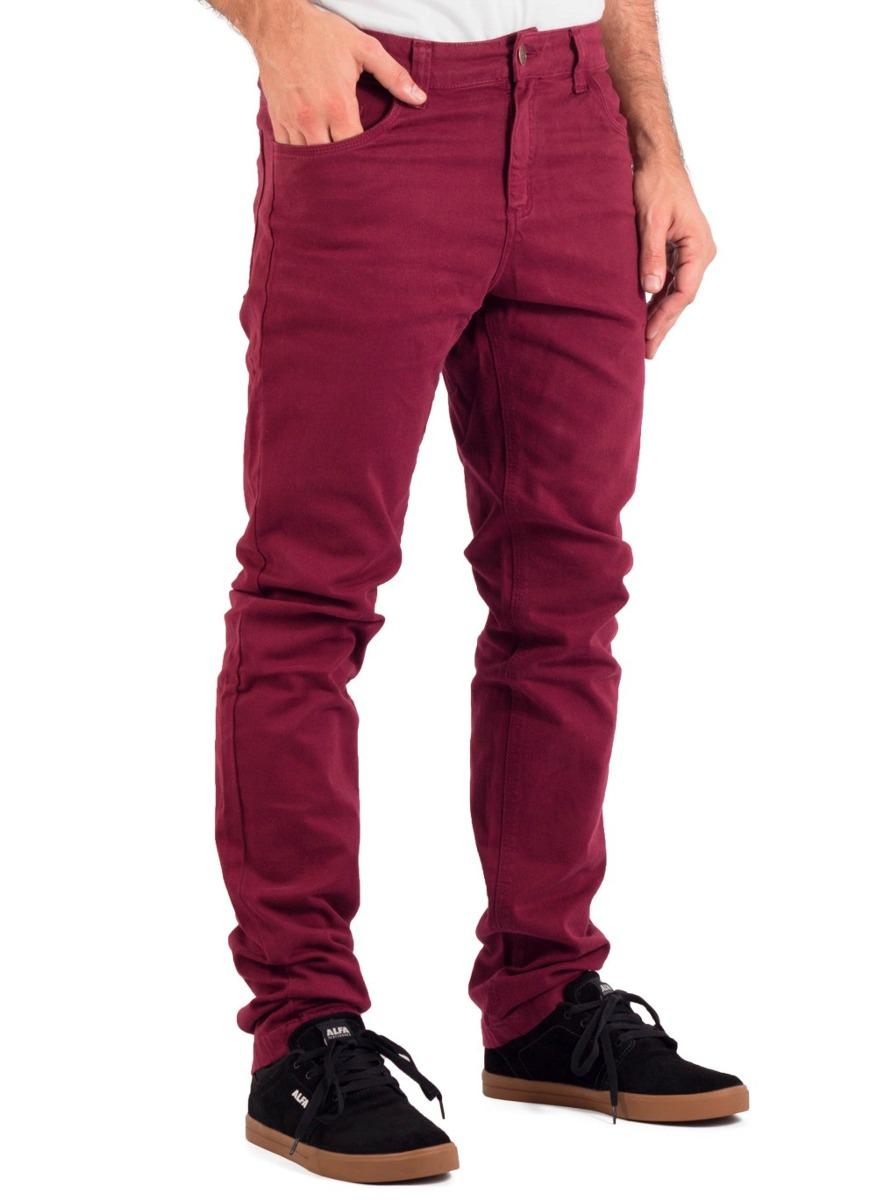 Calça Sarja Slim Alfa Skate Masculina Vinho - R  139,00 em Mercado Livre 54ce417c2c