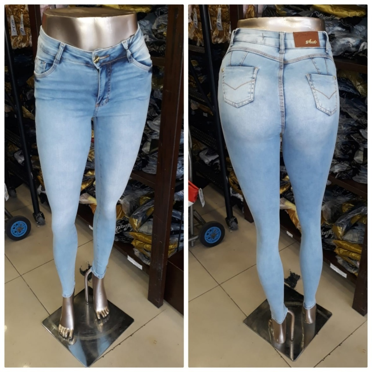 84eea163f Calça Skinny Azul Claro Manchada Scute Jeans Referencia:3240 - R$ 78 ...