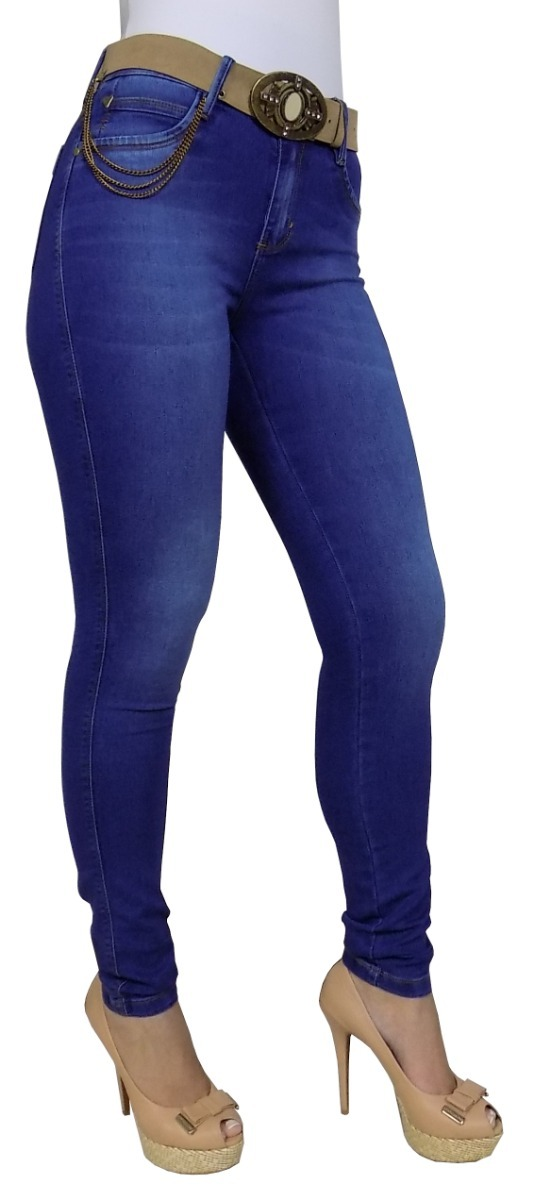 fceb5b828f calça skinny jeans feminina cós alto detalhe azul instagran. Carregando zoom .