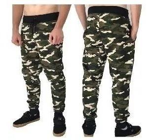 calça slim moletom roupa camuflado militar liso pb masculino