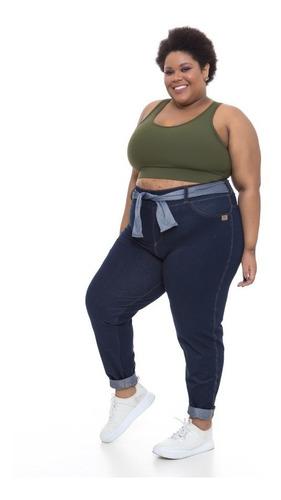 calça slim plus size wonder size denim jeans azul