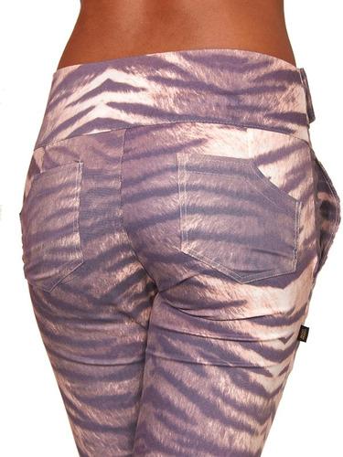 calça social feminina oncinha bege cintura alta c lycra  751