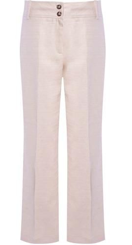 calça social pantalona com faixa na lateral em linho seiki f