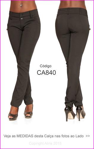 calça social preta com passante para cinto two way lycra 840