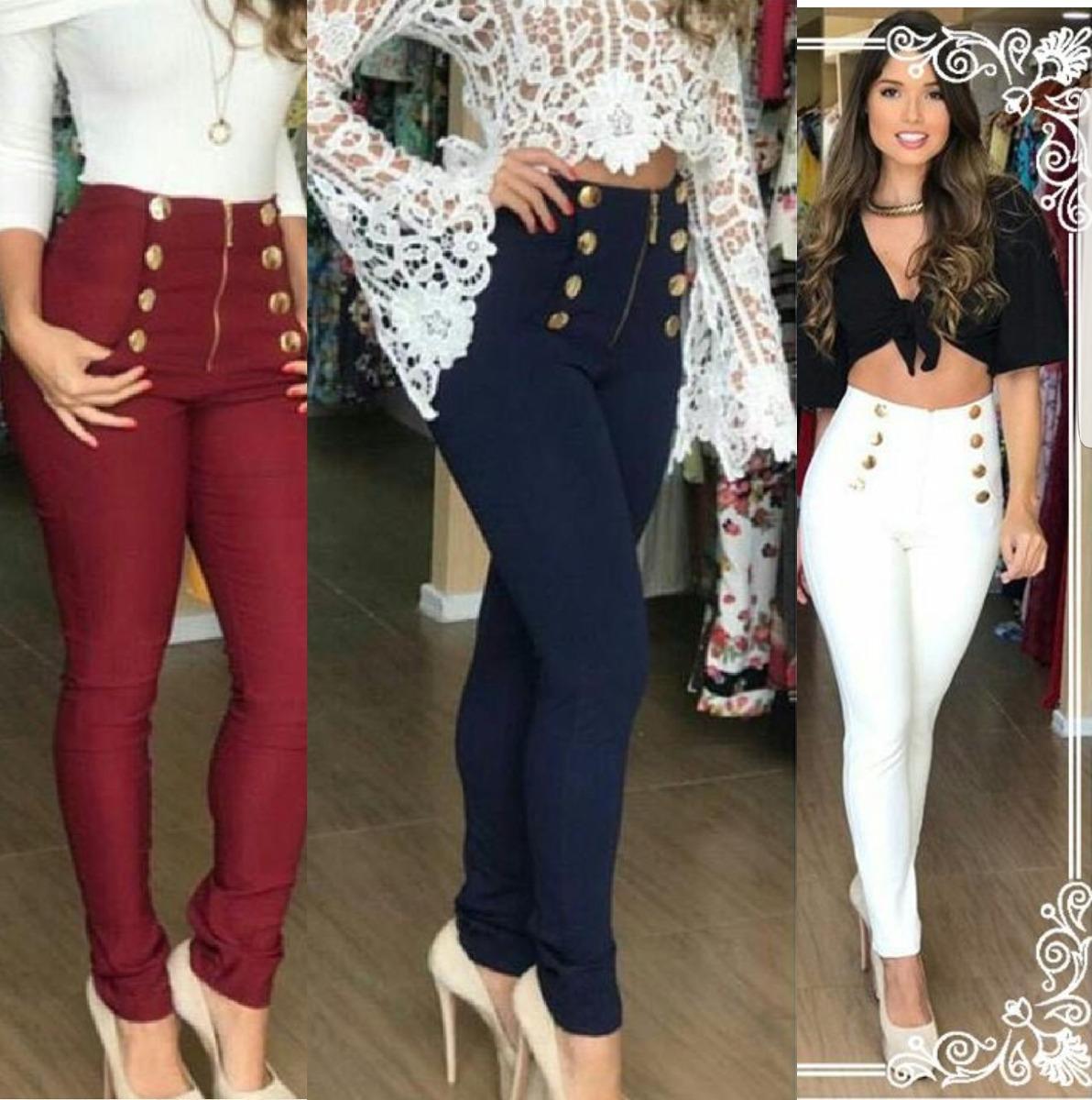 978b038ac calça social skinny cintura alta feminina preta branca luxo. Carregando  zoom.