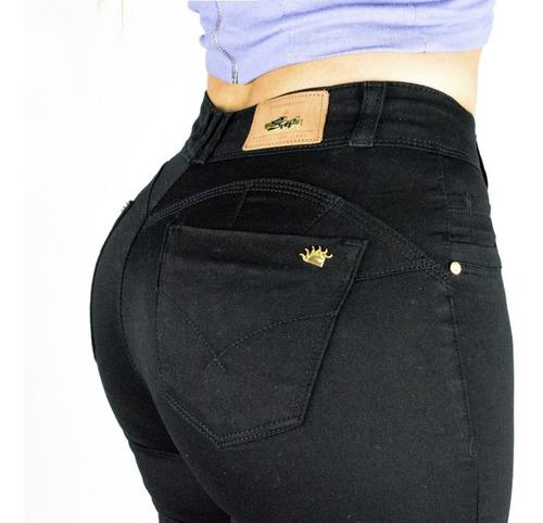 calça sol cintura média skinny com lycra preta