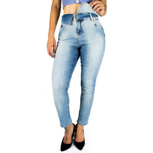 calça sol jeans cigarrete clochard cintura alta com lycra az