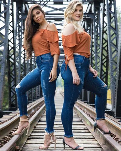 calça sol jeans cigarrete plus size rasgada hot pants com ly