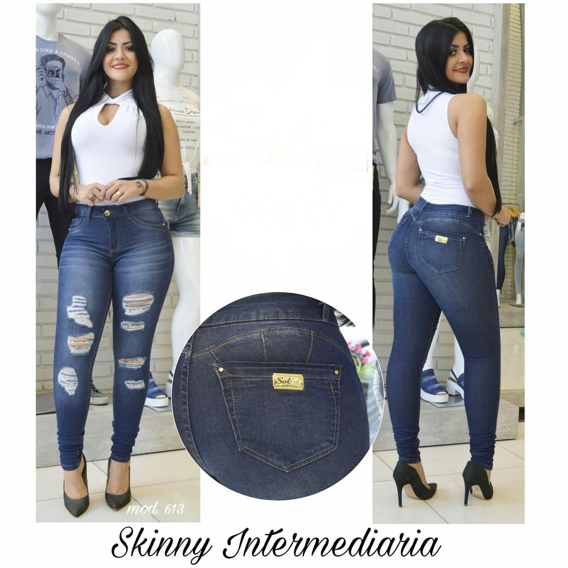 18f40e341 calça sol jeans feminina skinny com lycra destroyed 613 dins. Carregando  zoom.