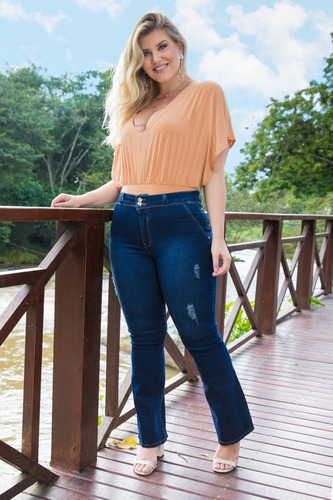 calça sol jeans flare plus size levanta bumbum com lycra azu