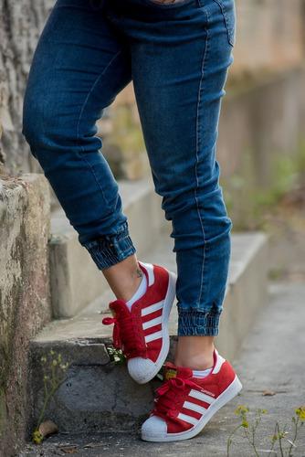 calça sol jeans jogger cintura elástico com lycra azul