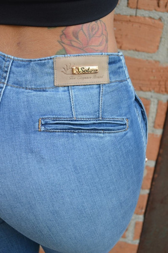 calça sol jeans levanta bumbum bolso faca com lycra azul