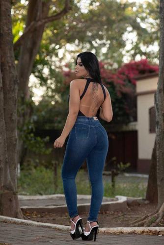 calça sol jeans skinny hot pants básica com lycra azul