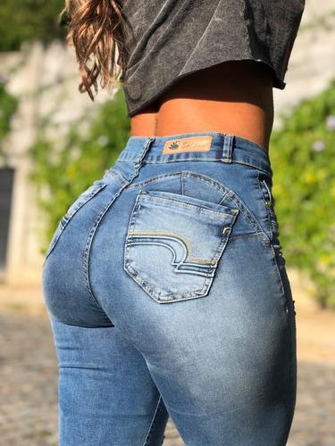 calça sol jeans skinny hot pants destroyed com lycra azul