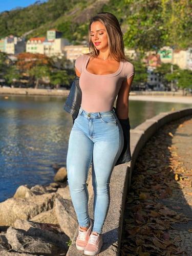 calça sol jeans skinny levanta bumbum cintura alta com lycra