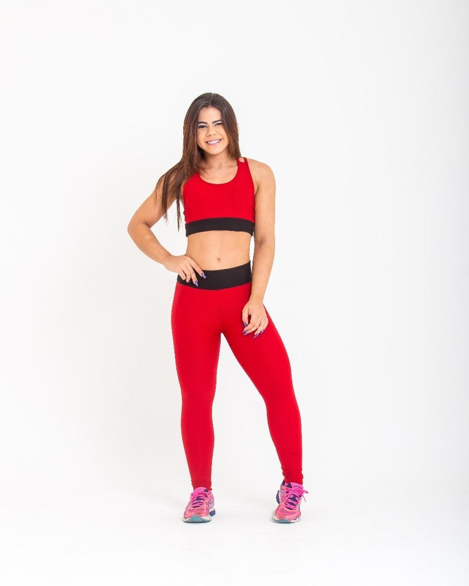 eef31203b Calça + Top 3d Jacquard Fitness Academia Moda Fitness - R  79
