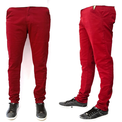 calça vermelha sarja masculina skinny ballad oferta