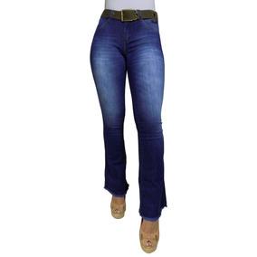 d4b1a4d2a Calça Jeans Feminina Flare Bootcut Barra Desfiada Com Cinto
