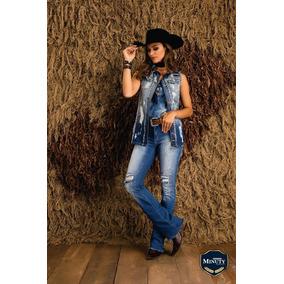 9b6f78c82c489 Calça Rasgada Jeans Country Flare Feminina Minuty Pedrarias