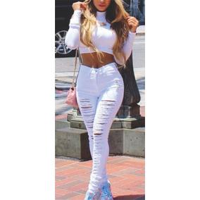 02456ac12 Roupas Feminina Calça Jeans Rasgada Cintura Alta Dins Lycra