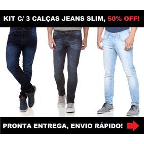 6232f6c20 Kit 3 Calças Jeans Masculina Slim Skinny C  Laycra 50% Off!