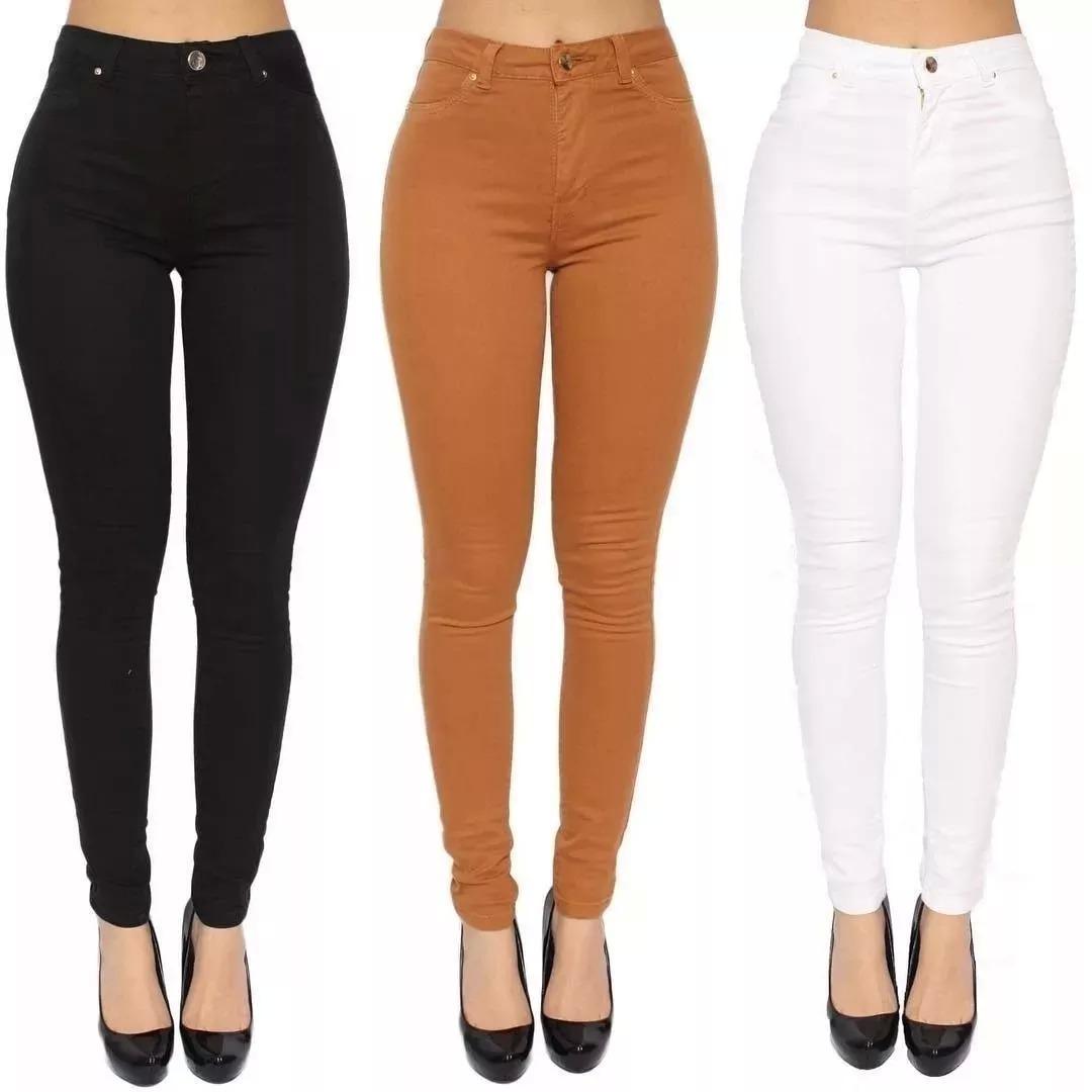 c486f1d8a calças feminina cintura alta cós alto jeans coloridas. Carregando zoom.