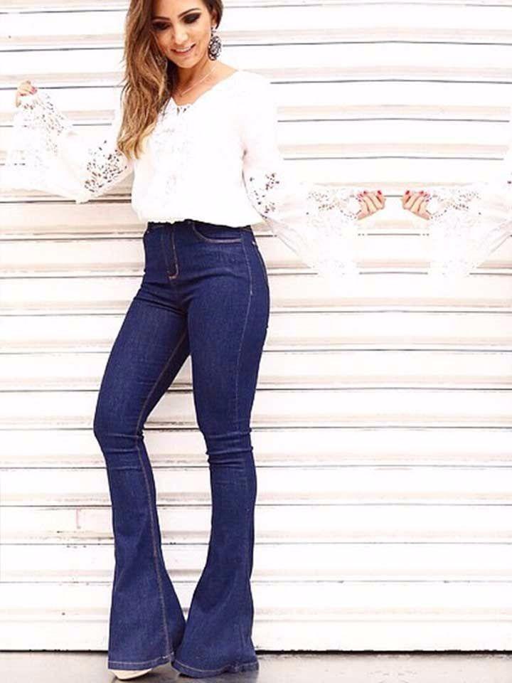 8beabad9b calças jeans feminina flare cós alto levanta bumbum. Carregando zoom.