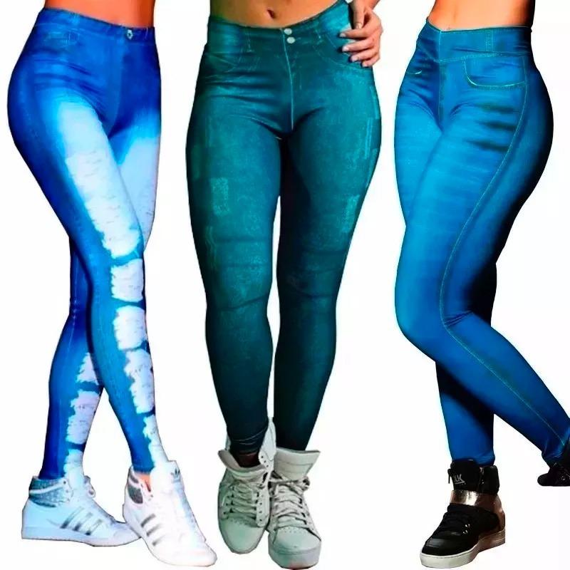 3e7b86ba9 Calças Legging Jeans Suplex P  Academia + Gel Redutor Oferta - R  59 ...