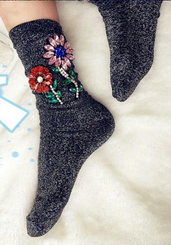 calceta calcetin con pedreria fashion para tacon