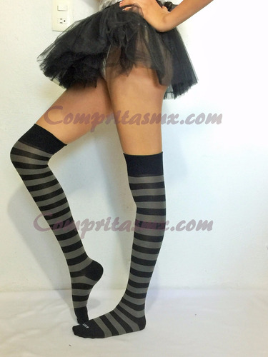 calceta media over knee rayada caramelo halloween lolita sex