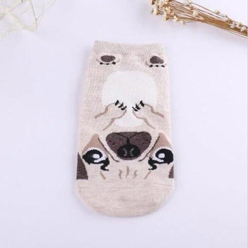 calcetin corto soquete perro pug color beige