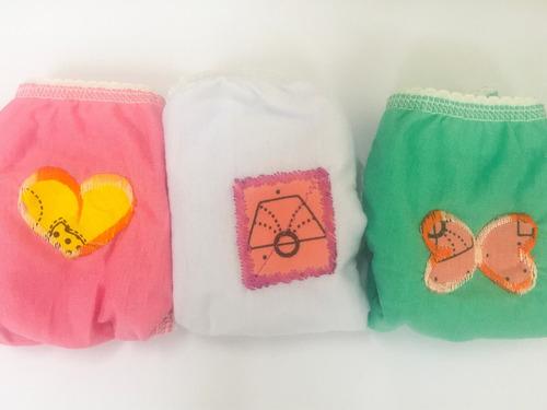 calcinha infantil  algodão kit 3 peças bordada lisa criança