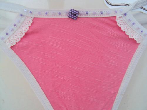calcinha tanga fio dental rosa customizada