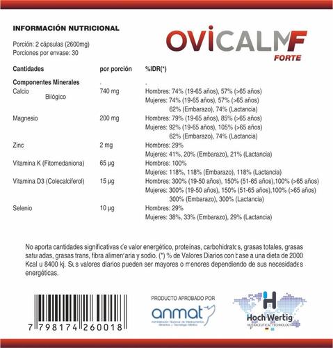calcio biológico + vit d3 + vit k - ovicalm f - pack 8 meses