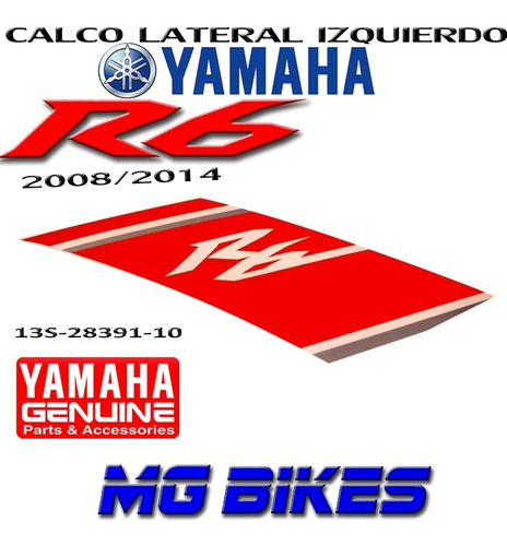 calco carenado lateral izq yamaha r6 2008 2014 orig mg bikes