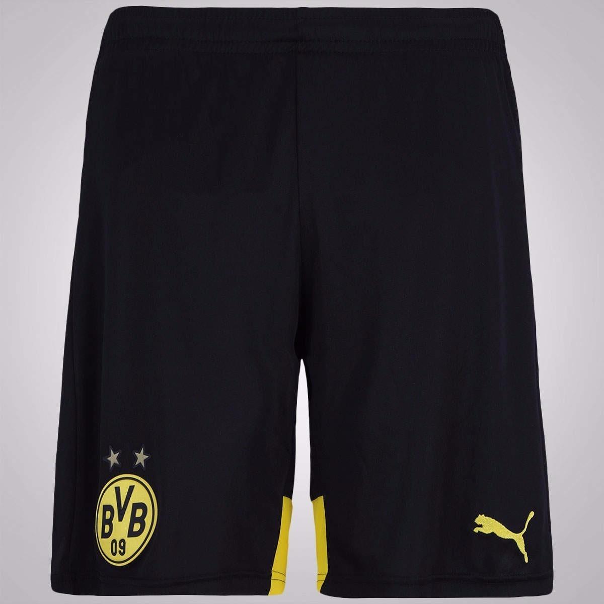 Calção Do Borussia Dortmund Novo Preto Shorts Futebol Time - R  59 ... 12cee29261a82