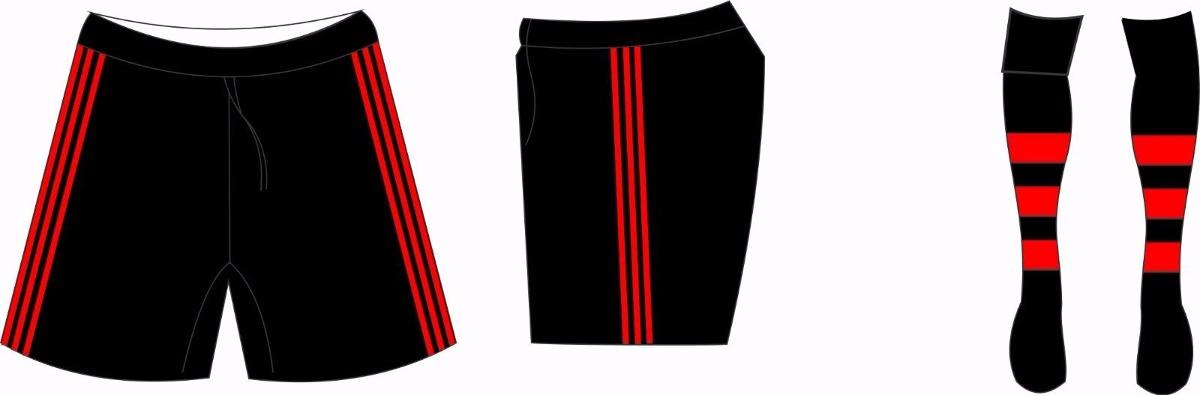 calção + meião preto vermelho kit futebol p - m - g - gg. Carregando zoom. ecac9e5e23b54