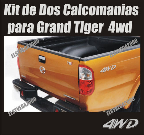 calcomania  4wd  para camioneta  pick up chery grand tiger