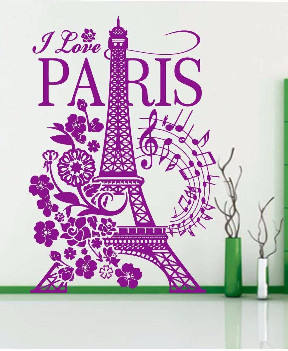 Calcomania decorativas para paredes torre eiffel stickers s 50 00 en mercado libre - Figuras decorativas grandes ...