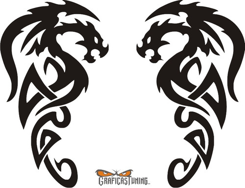 calcomanía dragon tribal 01 - 2 unidades - graficastuning
