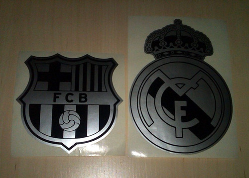 calcomania emblema del real madrid y barcelona fc