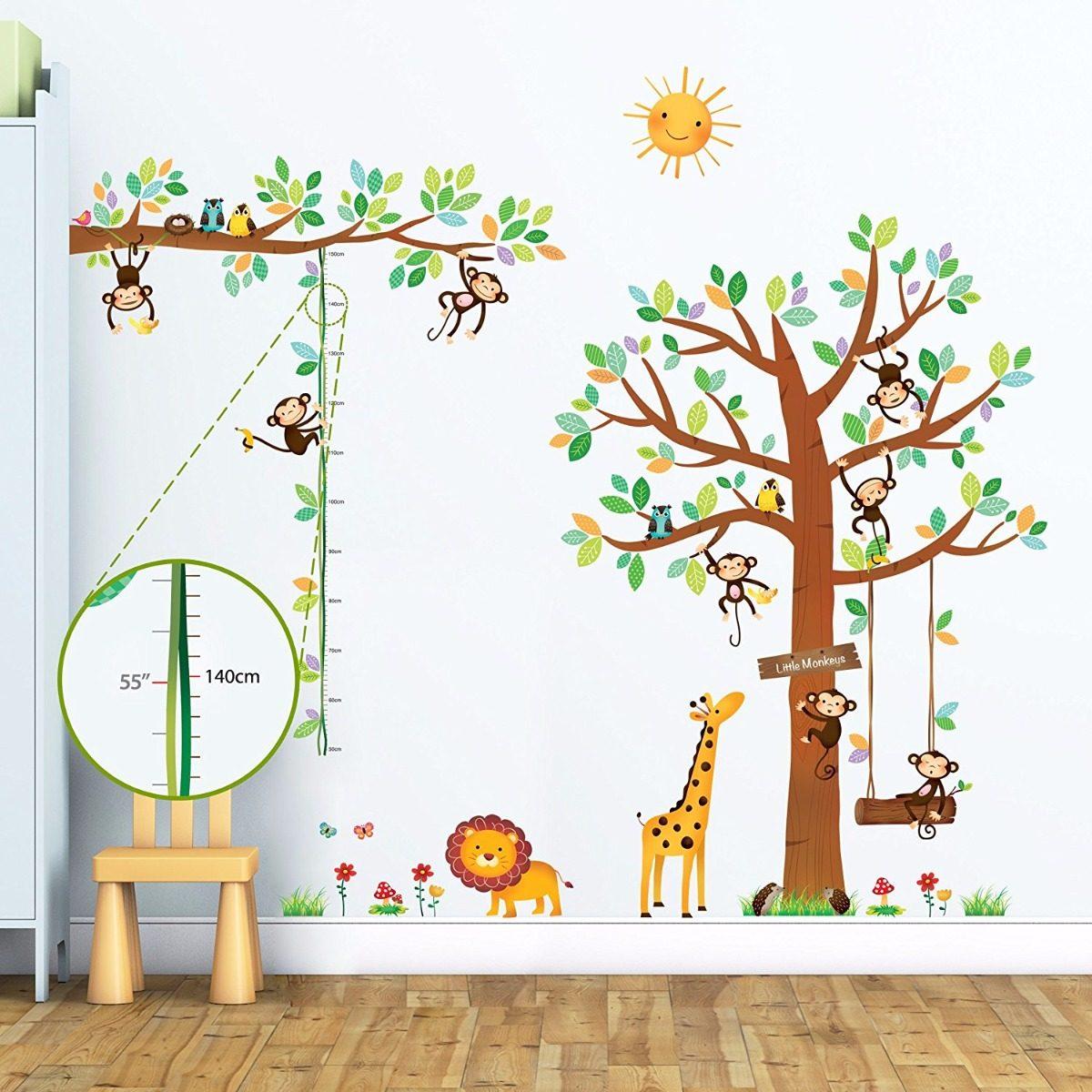 calcomania para pared de rbol animales decoraci n ni os en mercado libre. Black Bedroom Furniture Sets. Home Design Ideas