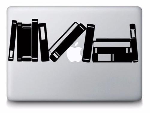 calcomanía sticker vinil macbook libros biblioteca