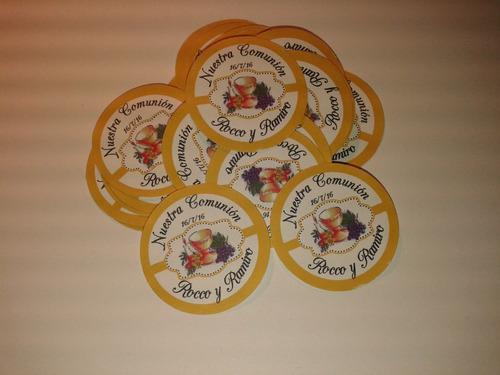 calcos, stickers personalizados de 3,8 cm x25 unid.