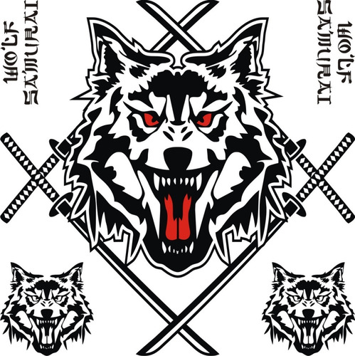 calcos wolf samurai 03 para capot + regalo !! graficastuning 00073